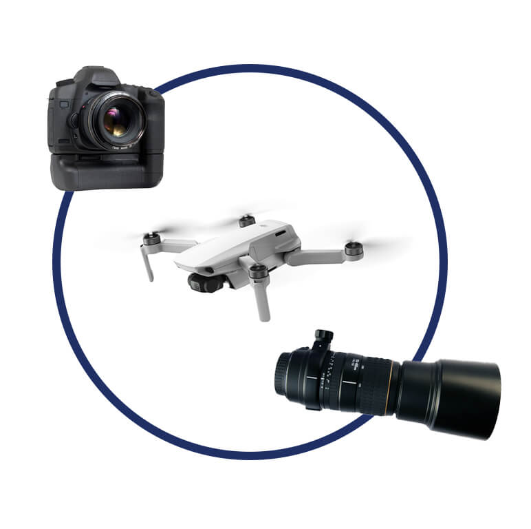 Circle of Video and Photography equipment, including objectiv, drone and camera